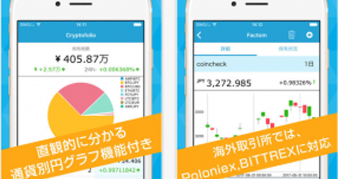 Cryptofolio(クリプトフォリオ)ビットコインの資産管理アプリ