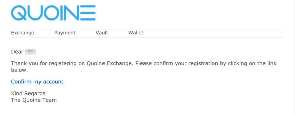 QUOINEXからのメール
