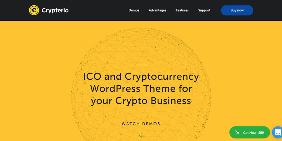 Crypterio - ICO and Cryptocurrency WordPress Theme