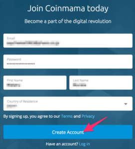 Coinmama(コインママ)の登録方法2