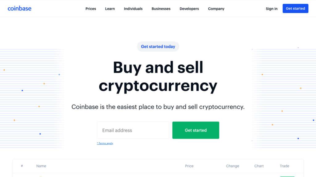 Coinbase(コインベース)のWebサイト